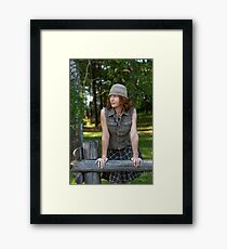Woman with cap in nature Framed Print