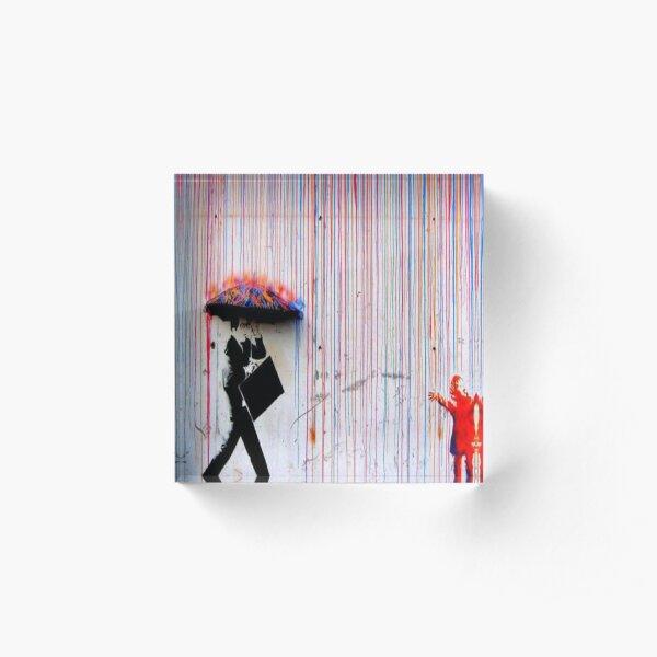 Banksy Rainbow Rain Acrylic Block