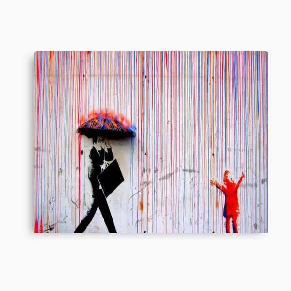 Banksy Rainbow Rain Canvas Print