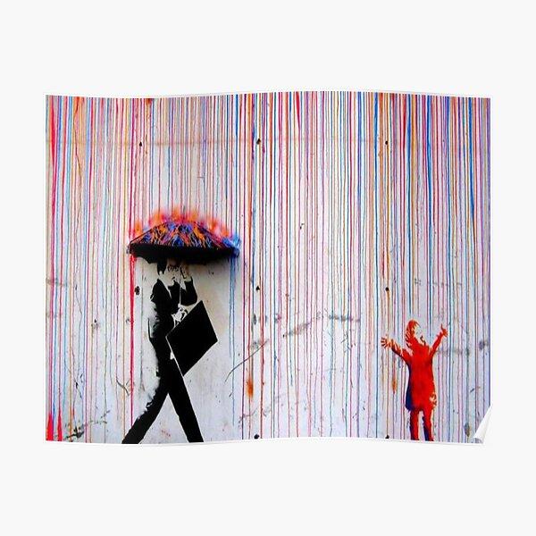 Banksy Rainbow Rain Poster