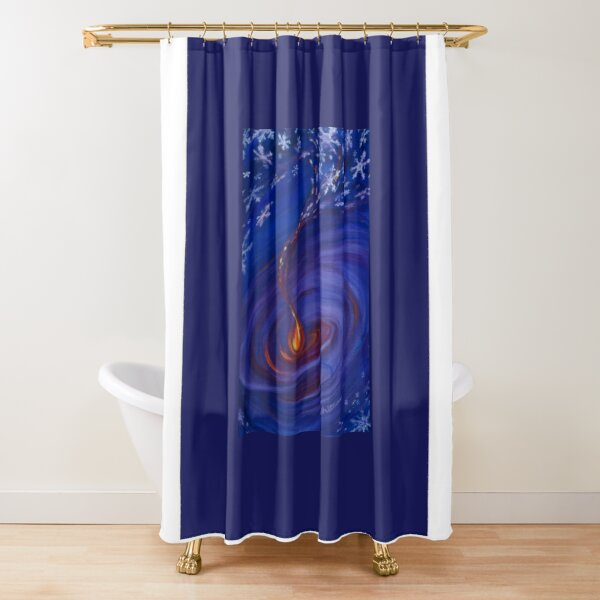 Snowlight swirling around flame Shower Curtain