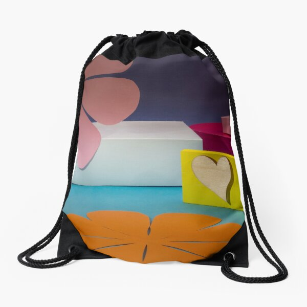 Colorful boxes and paper flowers Drawstring Bag