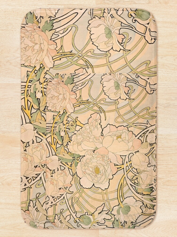 Alternate view of Alfonse Mucha Art Nouveau Peonies Bath Mat