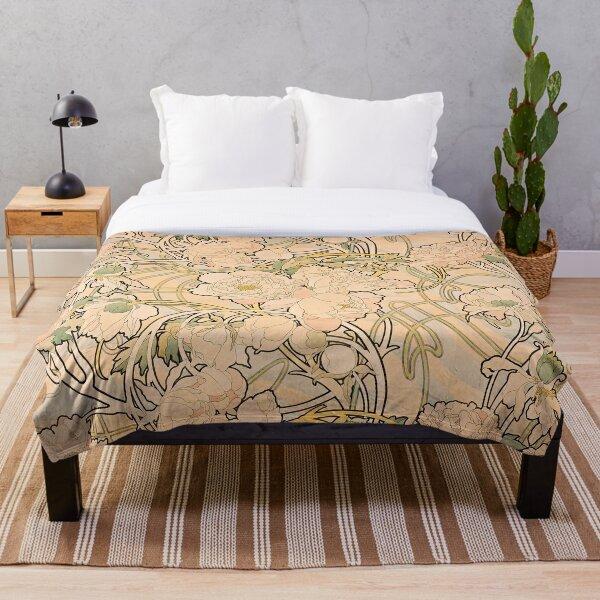Alfonse Mucha Art Nouveau Peonies Throw Blanket