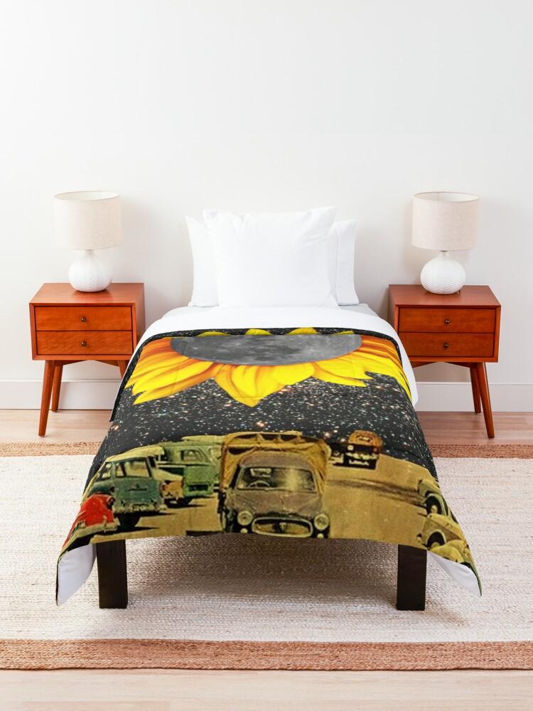 Alternate view of Sunflower Moon at Night  Comforter