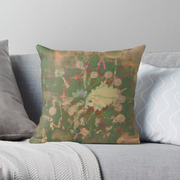Fractalized floral abstraction Throw Pillow