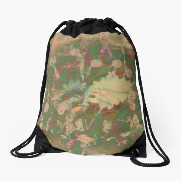 Fractalized floral abstraction Drawstring Bag