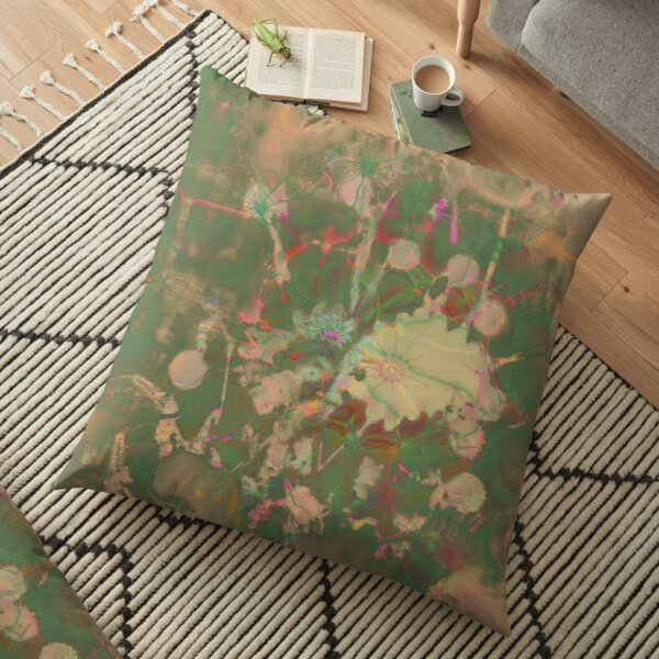 Fractalized floral abstraction Floor Pillow