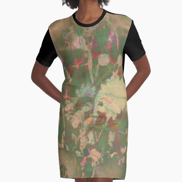 Fractalized floral abstraction Graphic T-Shirt Dress