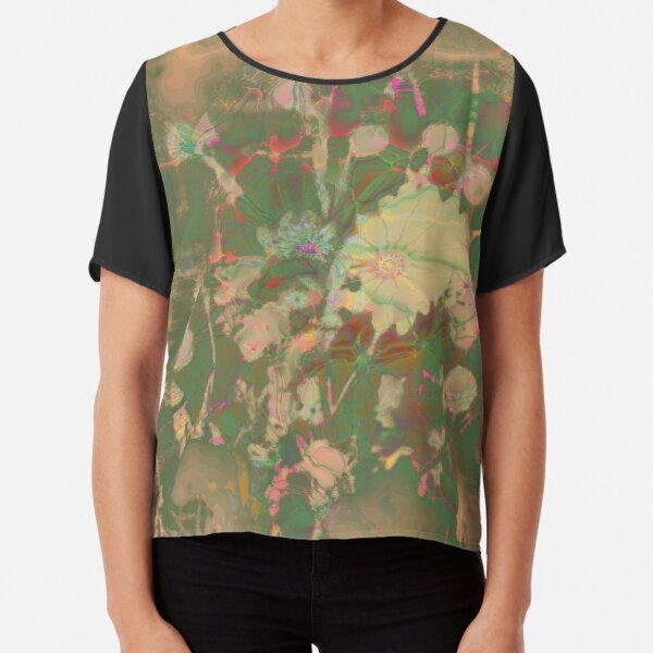 Fractalized floral abstraction Chiffon Top