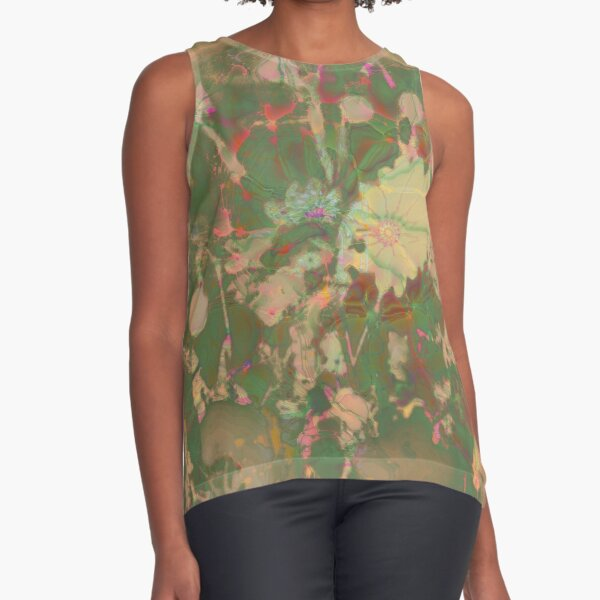 Fractalized floral abstraction Sleeveless Top
