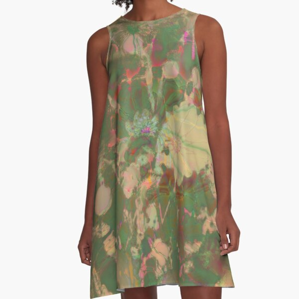 Fractalized floral abstraction A-Line Dress