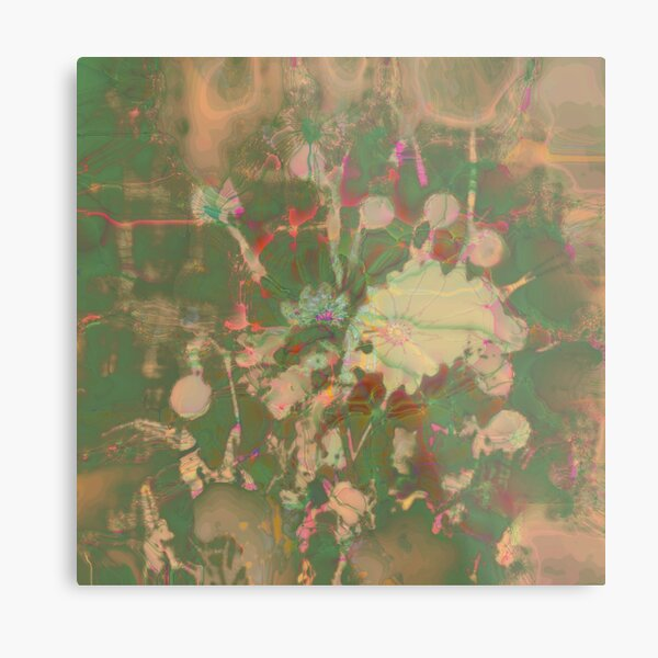 Fractalized floral abstraction Metal Print