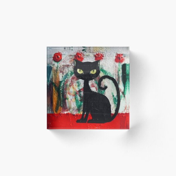 Black Cat With Red Roses Acrylic Block
