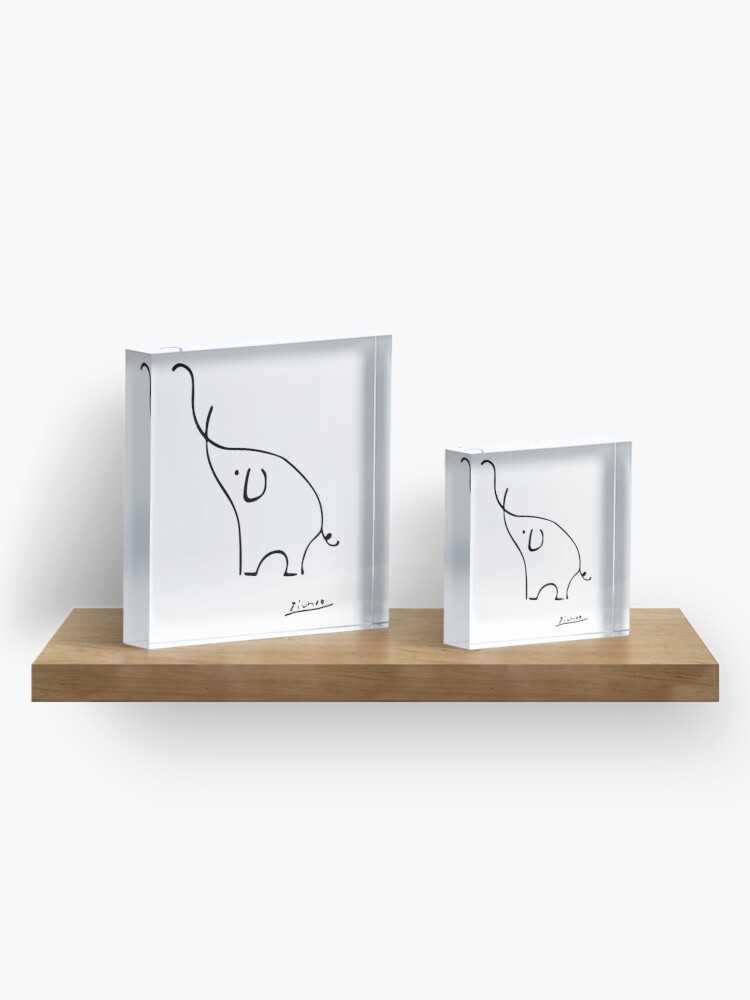 Alternate view of Picasso Elephant Line Art, Animals Designs for Wall Art, Prints, Posters, Men, Women, Kids Acrylic Block
