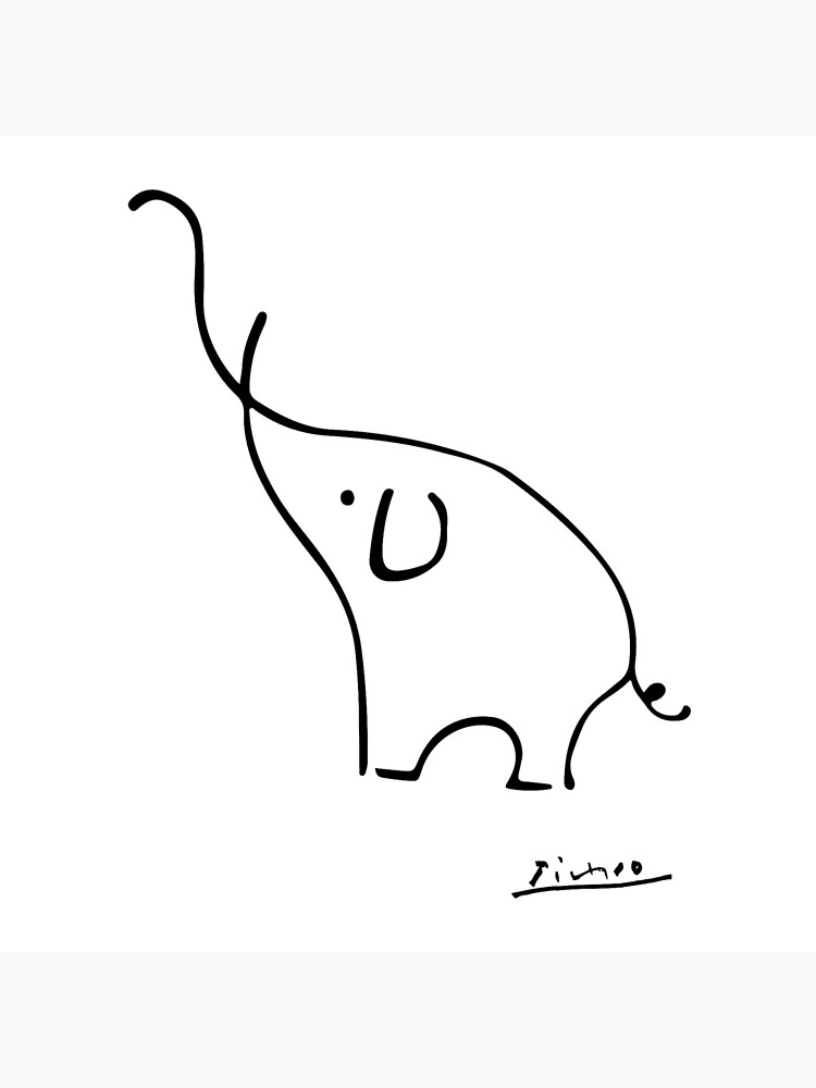 Picasso Elephant Line Art, Animals Designs for Wall Art, Prints, Posters, Men, Women, Kids by clothorama