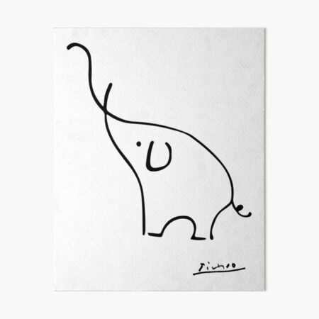 Picasso Elephant Line Art, Animals Designs for Wall Art, Prints, Posters, Men, Women, Kids Art Board Print