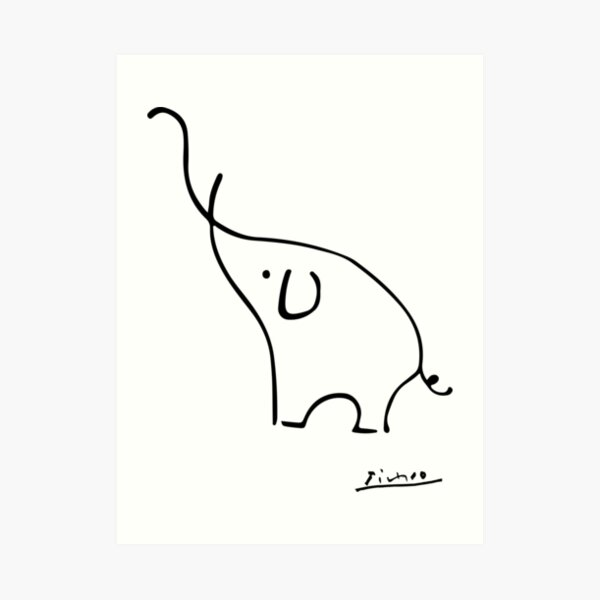 Picasso Elephant Line Art, Animals Designs for Wall Art, Prints, Posters, Men, Women, Kids Art Print