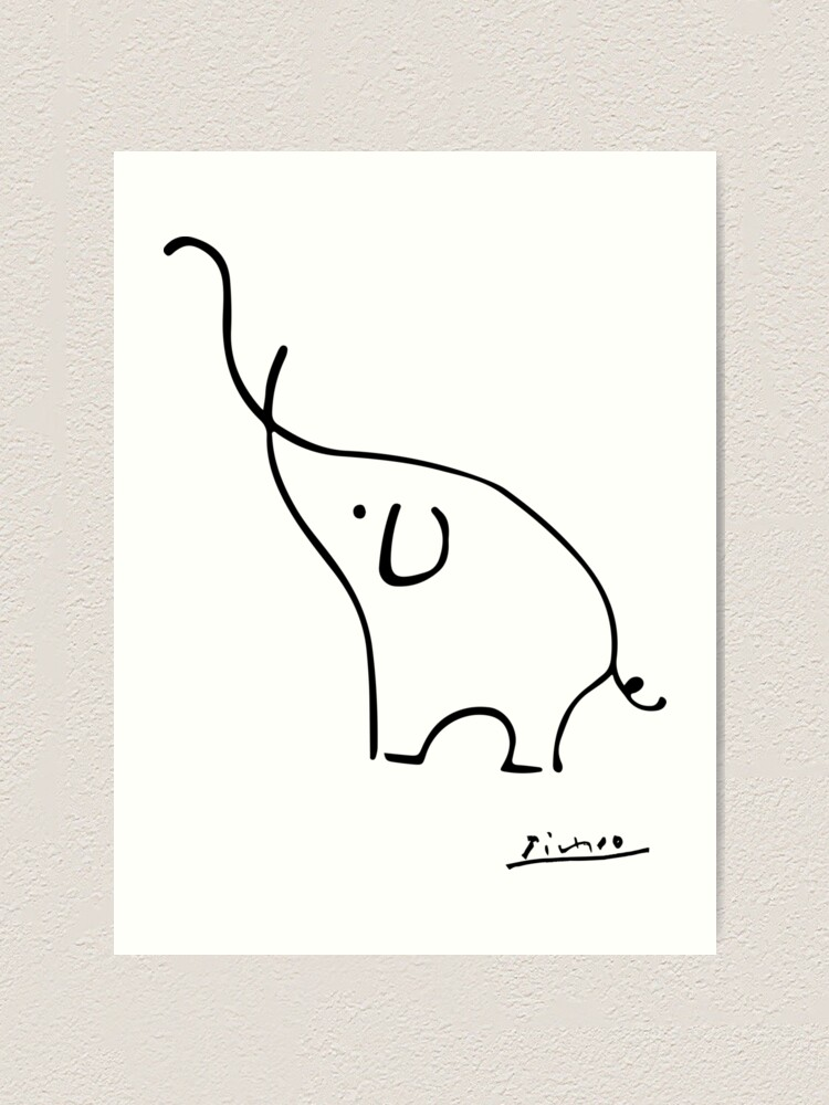Alternate view of Picasso Elephant Line Art, Animals Designs for Wall Art, Prints, Posters, Men, Women, Kids Art Print