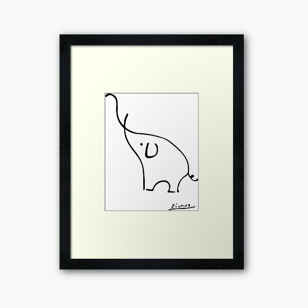 Picasso Elephant Line Art, Animals Designs for Wall Art, Prints, Posters, Men, Women, Kids Framed Art Print