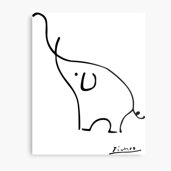 Picasso Elephant Line Art, Animals Designs for Wall Art, Prints, Posters, Men, Women, Kids Metal Print