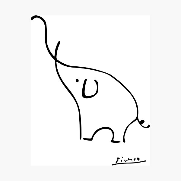 Picasso Elephant Line Art, Animals Designs for Wall Art, Prints, Posters, Men, Women, Kids Photographic Print