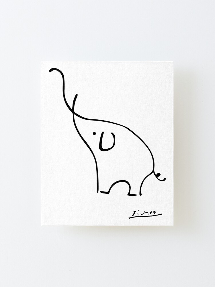 Alternate view of Picasso Elephant Line Art, Animals Designs for Wall Art, Prints, Posters, Men, Women, Kids Mounted Print