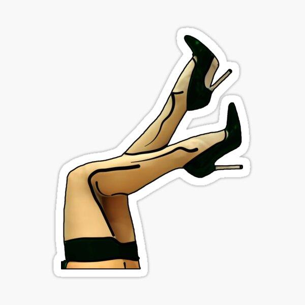 Sexy Woman Legs Green Stiletto Heels Shoes Sticker