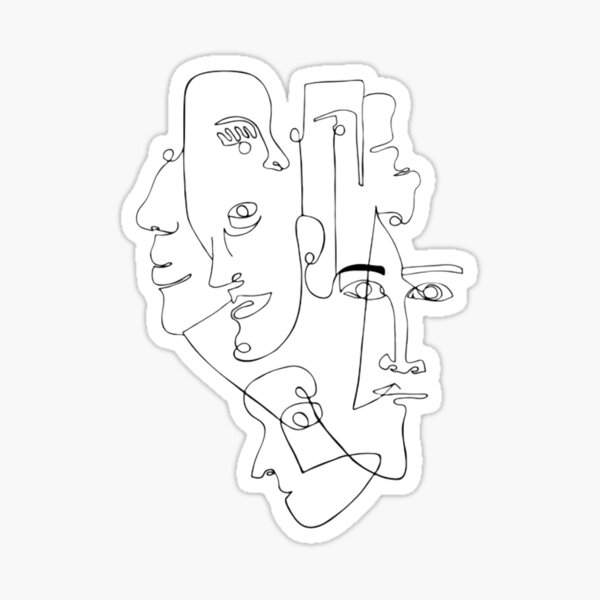 One Line Art Faces Sticker
