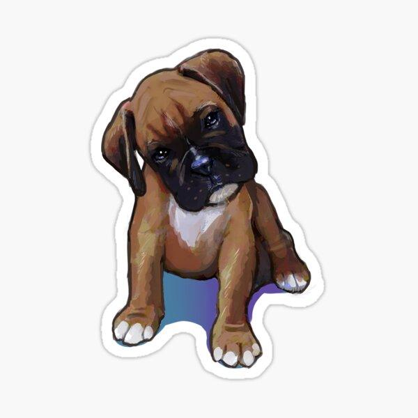 Boxer Perro Cachorro Curioso Pegatina