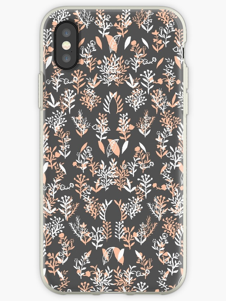 Trendy coral white watercolor floral pattern by Maria Fernandes