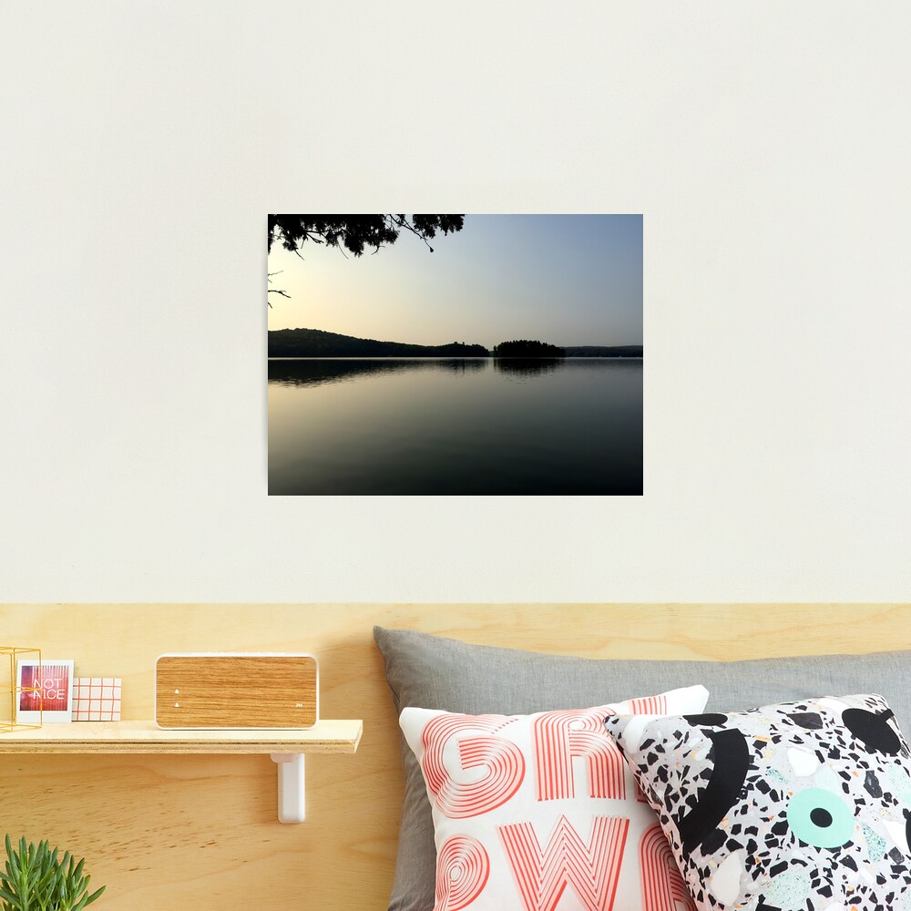 Calm Cottage Lake at Dawn, Sunrise With Islands Photographic Print