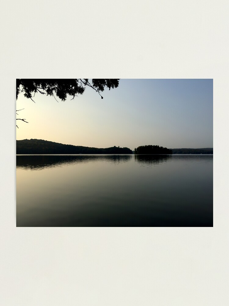 Alternate view of Calm Cottage Lake at Dawn, Sunrise With Islands Photographic Print