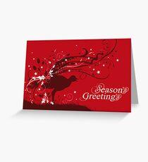 Graphic lyrebird red Australian Christmas card Greeting Card