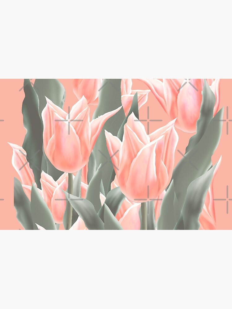 Stylish Peach Tulips Flowers Watercolor Illustration, coral pink color background by sofiartmedia