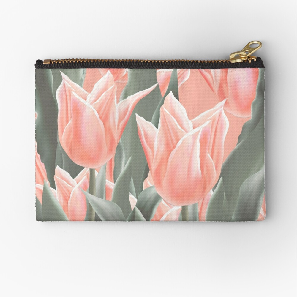 Stylish Peach Tulips Flowers Watercolor Illustration, coral pink color background Zipper Pouch