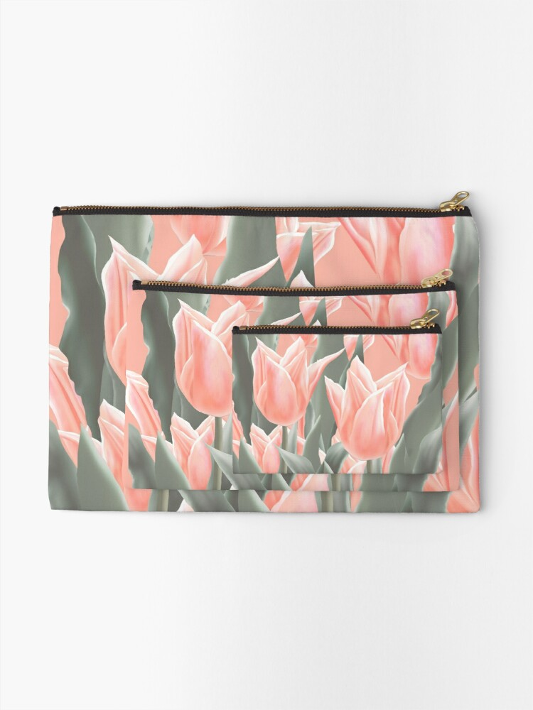 Alternate view of Stylish Peach Tulips Flowers Watercolor Illustration, coral pink color background Zipper Pouch