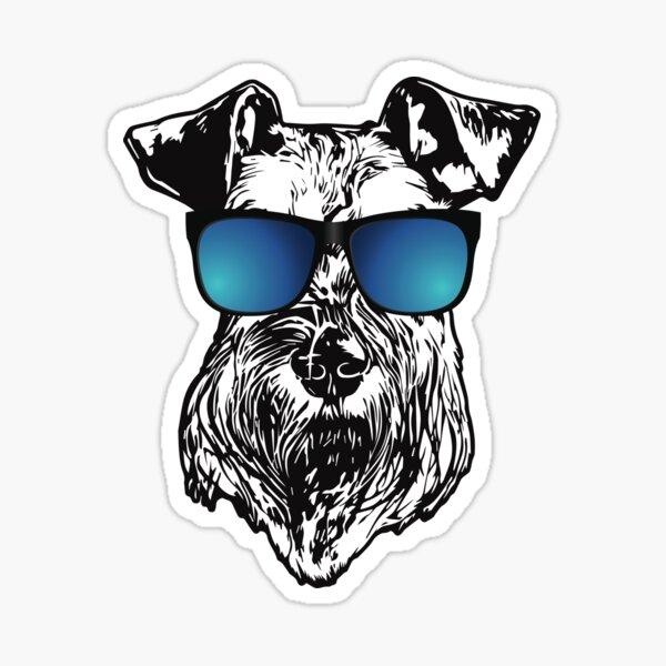 Schnauzer With Cool Blue Sunglasses Sticker