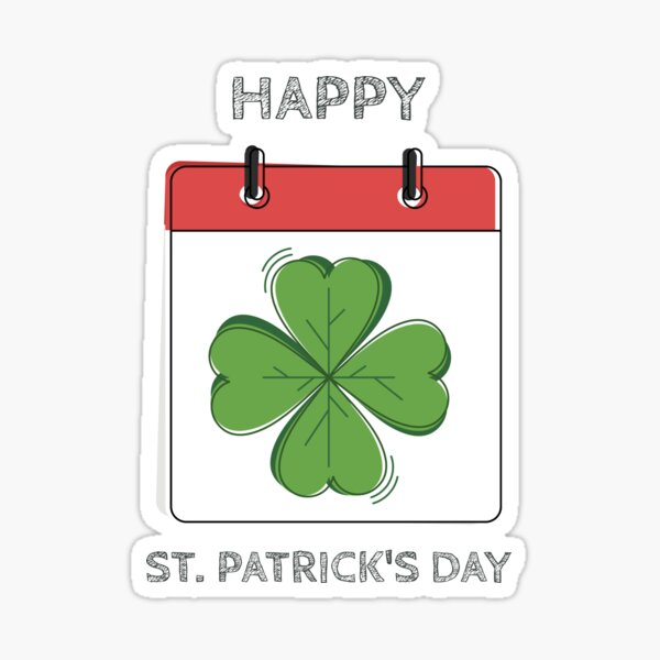 Clover Calendar Happy St. Patrick's Day Sticker