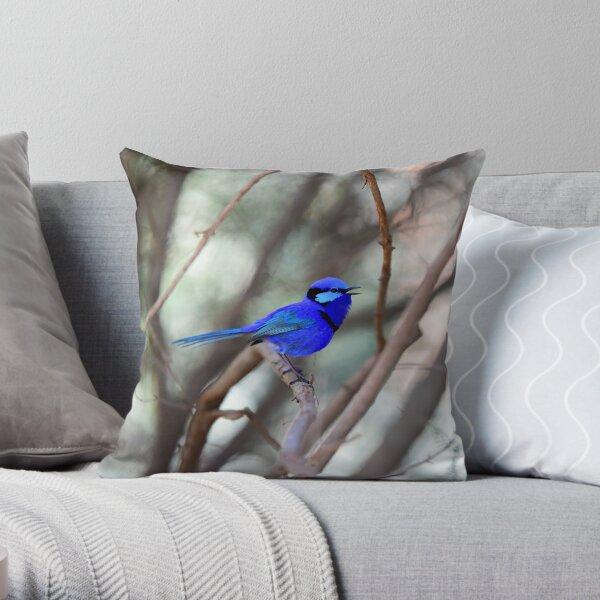 Splendid Blue Fairy Wren Singing Throw Pillow