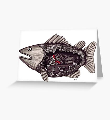 Sleeping inside a fish surreal black and white pen ink drawing Greeting Card