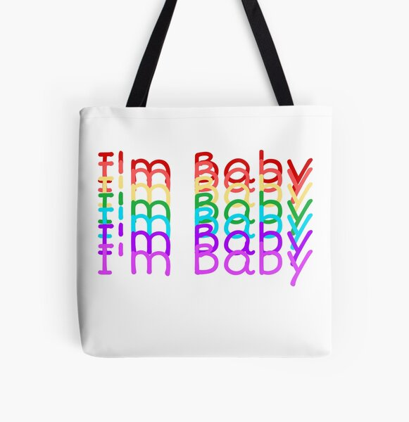 """""""I'm Baby"""" Rainbow Repeating Text Design All Over Print Tote Bag"""