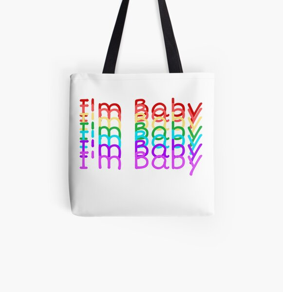 """I'm Baby"" Rainbow Repeating Text Design All Over Print Tote Bag"