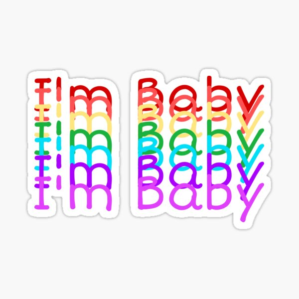 """""""I'm Baby"""" Rainbow Repeating Text Design Sticker"""