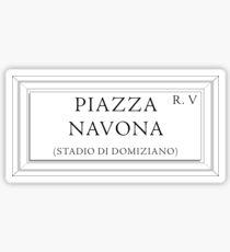 Piazza Navona, Street Sign, Rome Sticker