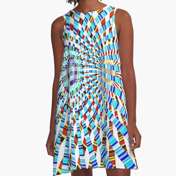 #Design, #abstract, #pattern, #illustration, psychedelic, vortex, modern, art, decoration A-Line Dress