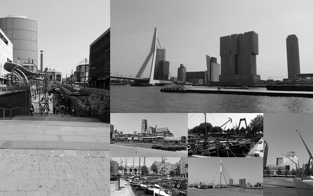 Photo collage Rotterdam 3 in black and white by kultjers