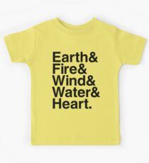 Earth&Fire&Wind&Water&Heart (Black) Kids Tee