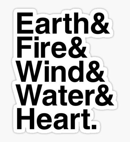 Earth&Fire&Wind&Water&Heart (Black) Sticker