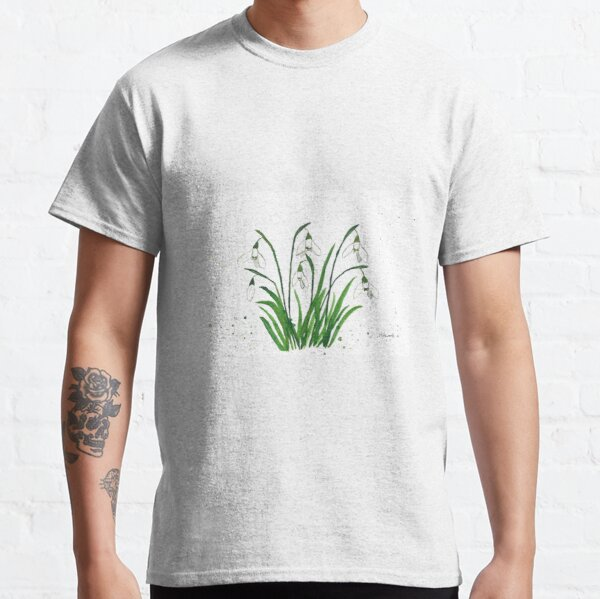 Snowdrops white flowers watercolour Classic T-Shirt